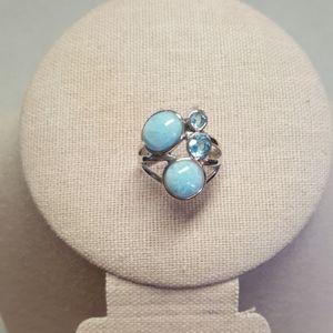 Larimar & Swiss Blue Topaz Sterling Silver Ring